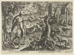 Wolvenjacht met vallen, Philips Galle, 1578