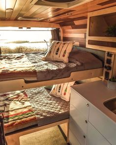 Top 10 Camper Van Interior Inspiration For Your Next Build - Wohnwagen Interior Wood Paneling, Converted Vans, Kombi Home, Van Home, Camper Van Conversion Diy, Sprinter Van Conversion, Campervan Interior, Van Living, Van Camping