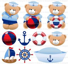 Sailor Theme, Sailor Baby, Nautical Quilt, Nautical Party, Moldes Para Baby Shower, Baby Embroidery, Decoupage Vintage, Baby Shower Princess, Beach Art