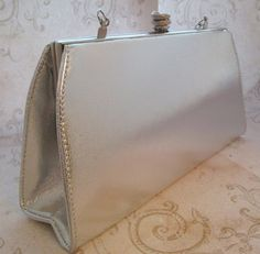 Silver Vinyl 1970s Metallic Bag Silver Lame Bag by TheBeadSource $22.00