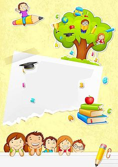 Back to School - Stock Vector , Kids Background, Cartoon Background, Kindergarten Learning, Preschool, School Border, Powerpoint Background Design, School Template, Bon Point, School Frame