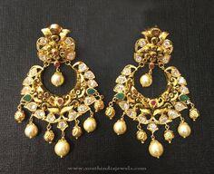 Gold Antique Chandbali Earrings Designs 2016, Gold Chandbali Models 2016, Gold Antique Earrings 2016.