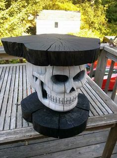 Gothic Skull Table : Carved & painted wood : Goth furniture
