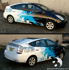 Full vehicle wrap for Brands Imaging employee car. #VehicleWrap #graphics #custom #philly #wraps #brandsimaging #creative #prius