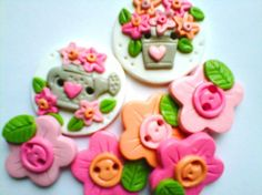 Button Watering Can and Flowers handmade polymer clay button set ( 7 )
