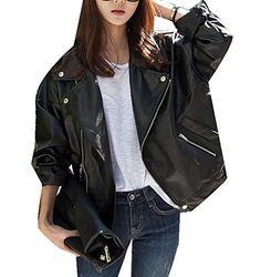 YUNY Womens Breathable Steampunk Casual Loose Moto Biker Jacket Beige 2XL