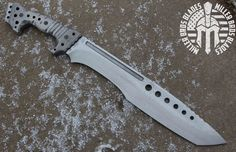 Miller Bros Blades :: A custom Jungle Sword in the process of getting finished. Steel is Z-Wear PM, Handles are Titanium