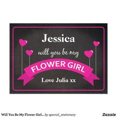 Will You Be My Flower Girl Chalkboard Black Pink 4.5x6.25 Paper Invitation Card