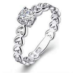 MODELLO 925 Silver Plated CZ Ring-9518 - Free Shipping- - TopBuy.com.au