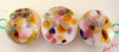 Fruit Salad Glass Bead Lentil trio pink by HollysFollyGlass, $12.00