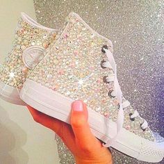 15 trendy Ideas for wedding shoes converse sneakers Converse Wedding Shoes, Prom Shoes, Bedazzled Converse, Glitter Converse, Cute Shoes, Me Too Shoes, Quinceanera Shoes, Quinceanera Ideas, Girls Shoes