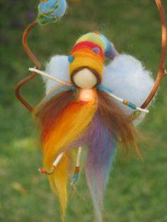Felted rainbow fairy