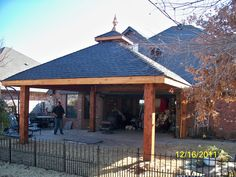 Pavilion Hipped Roof - Has four slopping panes that meet into one single point. This style of roof is used for smaller buildings, pool houses or garages.