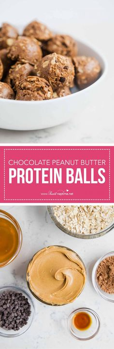 Chocolate peanut butter protein balls - tastes like no bake cookies but healthier! Theses make the perfect pre-work out snack, breakfast or dessert!