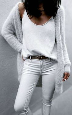 Jazy Goh + killing it + all white spring outfit + jeans + tank top + gorgeously soft faux fur cardi from #Asos + leather belt + break up the total white wash Top: Saboskirt, Cardi: Asos, Jeans: Parker Smith.