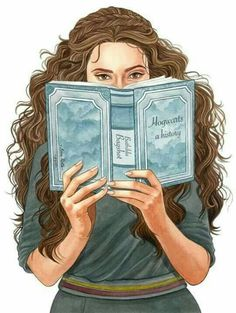 Hermione Granger from the Harry Potter series by J. Rowling reading Hogwarts: A History Fanart Harry Potter, Harry Potter World, Arte Do Harry Potter, Harry Potter Characters, Harry Potter Universal, Hogwarts, Severus Hermione, Draco, Hermione Granger Fan Art
