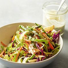 Sugar Snap Pea Slaw - Dressed in a creamy Dijon dressing, this quick and easy slaw features a whole lot of crunch! More delicious NEW recipes from BHG: http://www.bhg.com/recipes/from-better-homes-and-gardens/april-2013-recipes/