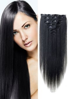 "18"" Clip-In Human Hair Extensions - #1 Jet Black"