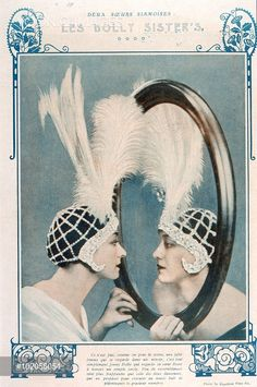 DOLLY SISTERS Jenny and Rosie, American stage performers, with what looks like a mirror, but isn't - YOONIQ Images - Stock photos, Illustrations & Video footage