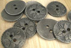 Flower Antique Silver Color Metal Buttons