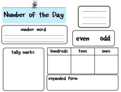 Here's a really nice form for recording information about the number of the day.
