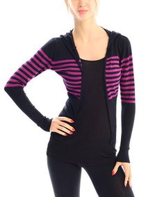 Another great find on #zulily! Black & Rose Stripe Zip-Up Hoodie by VICE VERSA #zulilyfinds