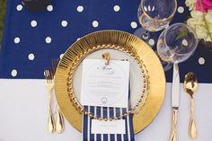 Nautical Chic Wedding Inspiration - Belle The Magazine Nautical Wedding, Chic Wedding, Shade Roses, Gold Lanterns, Gold Polka Dots, Wedding Songs, Menu Cards, Bridal Boutique, Event Venues