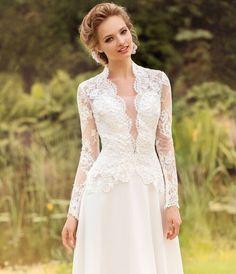 Full Sleeves Long Lace Wedding Dresses Bridal Gowns Vestidos de Novia Renda Custom Made 2015