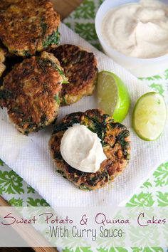 Sweet Potato and Quinoa Patties with Curry Dipping Sauce // @HealthyDelish