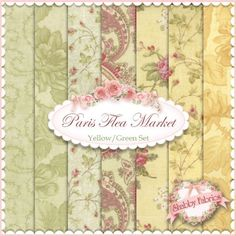 3 Sisters for Moda: Paris Flea Market in Yellow/Green | Shabby Chic quilting fabric