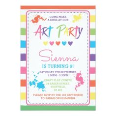 Art Party themed birthday party invitation - birthday gifts party celebration custom gift ideas diy
