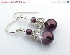 30% Sale- Bridal Earrings, Wedding Earrings, Plum Pearl Earrings, Rhinestone Earrings, Bridesmaids Earrings, Gift, Purple Earrings, Silver