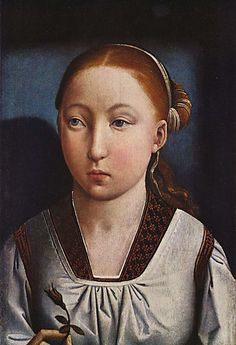 """1496: Joanna of Castile, """"Portrait of an Enfanta"""" by Juan de Flandes.  Painted in the year of her marriage to Philip I, the son of Holy Roman Emperor Maximilian I.  The  portraits of Joanna and Philip are together in the Kunstmuseum Basel."""