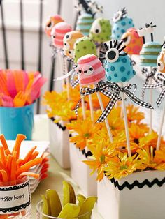 Some fab ideas for monster party theme decoration ideas!!!  Lovin' the little monsters on a stick!!!