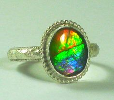 Beautiful Sterling Rainbow Ammolite Ring by Tazzie's Custom Jewelry on Etsy