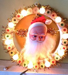 Vintage Tree toppers | Vintage Santa Light Tree Topper Wall Hanging Spinning Rotating ...