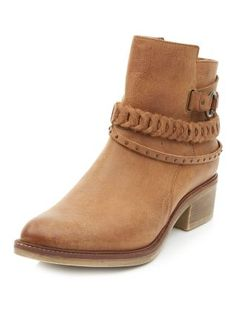 Tan Leather Plaited Trim Ankle Boots  | New Look