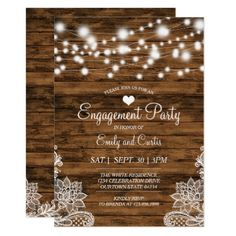 Lights Wood and Lace Engagement Party Invitation - invitations custom unique diy personalize occasions