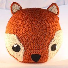 Rusty Orange Fox Pillow - Crochet - Woodland Creature