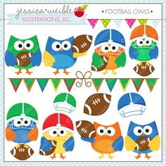 Football Owls - adorable owls ready for football season.  Great for your craft and creative projects.