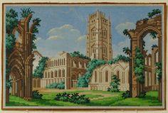 Антикварная 19TH C ручной росписью Берлин woolwork узор-фаунтинское аббатство Йоркшир | eBay