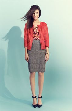 Classiques Entier Leather Jacket, Silk Top & Tweed Skirt | Nordstrom