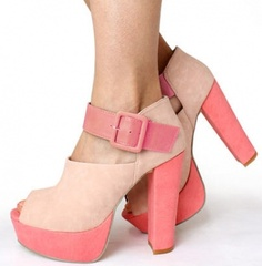 Chunky Heel Color Block Peep Toe Closed Back Platform Ankle Strap Sandals on BuyTrends.com, only price $22.92