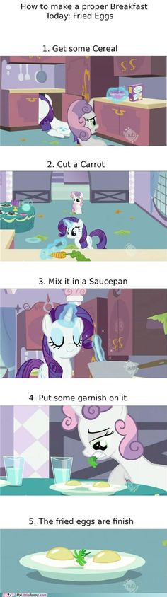 Cooking with Rarity. I thought she just grabbed the bowl but I can't explain the carrot