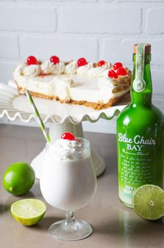 When life hands you limes, you make a Key Lime Colada. This creamy frozen drink recipe is the perfect cocktail for your day at the beach or by the pool. Blend all ingredients together. Pour into a cup rimmed with coconut flakes. Garnish with a lime wheel and a cherry. #bluechairbay #keyllimerumcream #BCBHappyHour Key Lime Drink Recipes, Lime Drinks, Rum Recipes, Alcohol Drink Recipes, Fancy Drinks, Yummy Drinks, Cocktail Recipes, Recipies, Key Lime Rum Cream