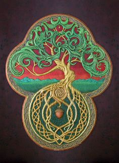 Celtic tree with acorn