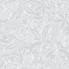 Hanna Werning 1309 Non-woven Wallpaper Flowers and Foxes Light Grey White…