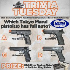 AirSplat #TriviaTuesday: Which Tokyo Marui pistol(s) has full auto? Like, Comment, & REPIN for a chance to win! Random winner will be announced next Tuesday! Must be a USA resident to qualify. http://www.airsplat.com/TM-Tokyo-Marui.htm  —————  Last week's answer was A. WINNER: put.me_in_coach on Instagram! **Please make sure that you are REPINNING along with answering correctly for a chance to win!**