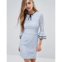 Miss Selfridge Lace Frill Sleeve Dress (2,960 PHP) ❤ liked on Polyvore featuring dresses, blue, slim fit dress, neck-tie, blue neck tie, lacy dress and tall dresses