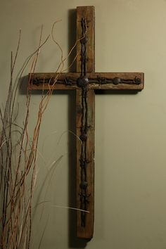 "Rustic Barbed Wire Old Door Cross-32"" – Celebrate Faith"